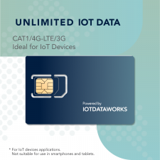 IOTDataWorks Unlimited IOT Sim Card with 12 Month Service | No Contracts, No Usage Limits | Prepaid IOT Sim Card at 64kbps for CAT1, NB-IoT, 4G LTE/3G Devices | No Voice/SMS | T-Mobile USA